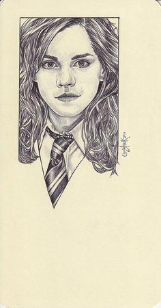 Wow. Ballpoint pen drawing of Hermione Granger.