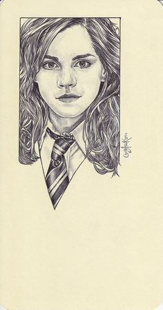 Wow. Ballpoint pen drawing of Hermione Granger.