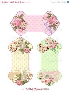 Half Price Sale Shabby Chic Roses, Butterflies and Sewing Ephemera Ribbon or Lace Holder -  Instant Digital Download