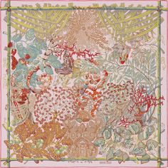 """Mythes et Metamorphoses   Hermes silk twill scarf, hand rolled, 36"""" x 36""""   Designed by Annie Faivre   Ref. : H002814S 12"""