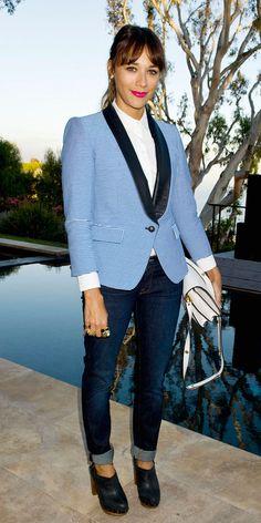 click to shop Rashida Jones' borrowed-from-the-boys look