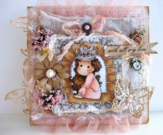 Card by LLC DT Member Louise Fraenell, using papers from Maja Design's Sofiero collection and a Magnolia image.