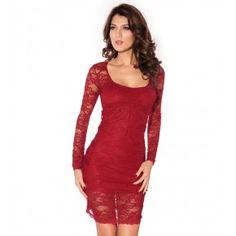 WenMei Women s Long Sleeve Lace Back Hole Sexy Nightclub Dress (Red) 58b2c9991417