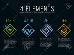 Earth Element Symbol, Element Symbols, Four Elements Tattoo, Elements Of Art, Couple Tattoos, Tattoos For Guys, New Tattoos, Alchemy Tattoo, Square Logo