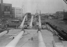 View from atop turret No. 2 of USS Iowa, looking forward, New York Naval Shipyard, New York, United States, 9 Jul 1943