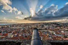 Lisbon - Castle View - A canon's view of the Lisbon skyline from the St. George Castle.