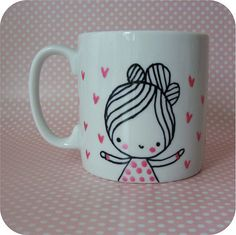 Hand painted china mug with a little girl and pink by stamptout,£9.00