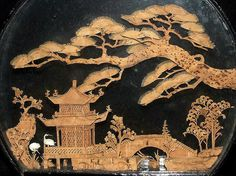 """Chinese carved cork diorama landscape lacquered case 9""""/9"""""""