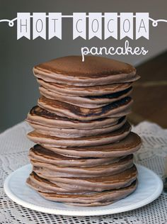 Recipe for Hot Cocoa Pancakes- using Chupon Chocolate shavings ! http://www.chuponchocolate.com/