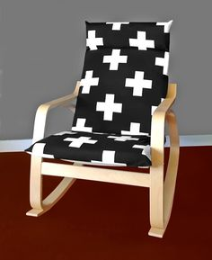 White Cross IKEA POÄNG Cushion Slipcover Black Ikea Chair Cover & 10 Times the IKEA POÄNG Chair Looked Definitively Chic | DIY ...