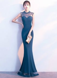 e936866d5 In Stock Ship in 48 hours Blue Satin High Neck Mermaid Prom Dress