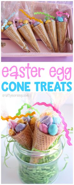 These edible easter egg cone treats are adorable!! Cute little easter gift idea for the kids. Hide in their easter egg basket!