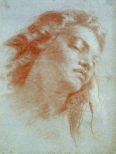 Giovanni Battista Tiepolo, Study of a female head. 1752  Red and white chalk on blue paper
