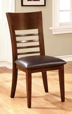 Furniture of America Hillsview I Transitional Brown Cherry Side Chair Set of 2 Wooden Dining Table Designs, Wooden Dining Chairs, Upholstered Dining Chairs, Dining Room Sets, Dining Chair Set, Dining Room Table, Ladder Back Dining Chairs, Side Chairs, Lounge Chairs
