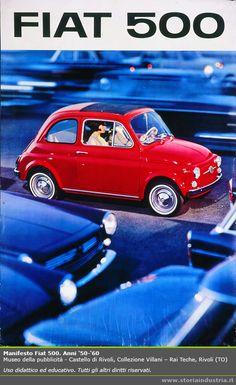 Advertising for the Fiat 500, 1950s-60s. Museo della pubblicità - Castello di Rivoli, Collezioni Villani.