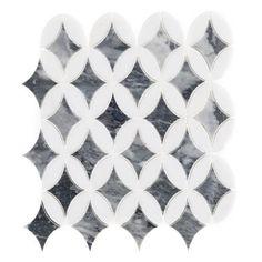 Bardiglio Thassos Lily Polished Marble Mosaic - 11 x 13 - 100465855 Kitchen Floor Tile Patterns, Bathroom Floor Tiles, Floor Patterns, Tile Floor, Wall Tiles, Quilting Patterns, Marble Mosaic, Mosaic Tiles, Tiling