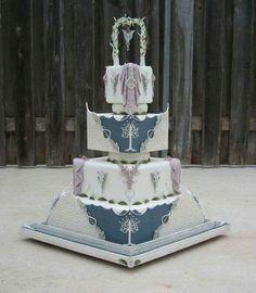 Winter elves wedding cake full view