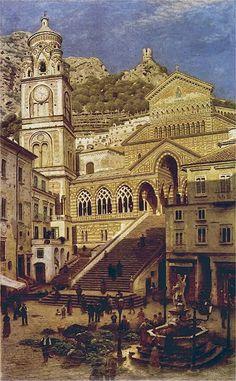 Aleksander Gierymski - Katedra w Amalfi Great Paintings, Old Paintings, Naples, Statues, Italy Tours, European Paintings, Grand Tour, Amalfi Coast, 18th Century