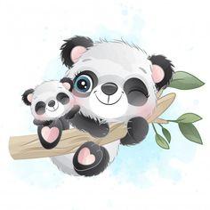 Cute Little Panda Mother And Baby Hanging In The Tree Baby Cartoon, Cute Cartoon, Cute Images, Cute Pictures, Lama Animal, Panda Mignon, Panda Lindo, Watercolor Christmas Tree, Baby Animal Drawings