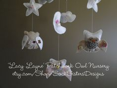 Owl Plush mobile and Nursery Decor....inspired by the nursery for Baby Falon! ... Sock Sisters Designs on etsy...
