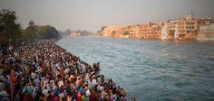 Bathing ghat on the Ganges during Kumbh Mela, 2010 in Haridwar.