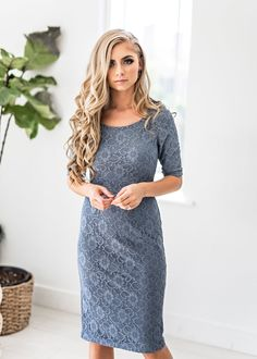 Antique Blue French Lace Dress-JessaKae, new arrivals, pretty, hair, cute, trend, womens fashion, womens style, lace dress, sleeves, details, floral, blue, blonde