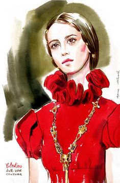 fashion illustration Valentino FALL 2016 Couture collection by Irina Ivanova. #runway #Valentino #fashionillustration #illustration #fashionsketch #sketch #fashion #model #makeup #portrait #365sketches #drawing #ink #watercolor #accessory #fashionshow #fashionportrait #clothes #dress #Valentino2016 #Couture #fashionweek #fashionillustrator #...