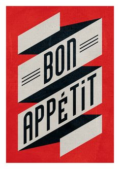 Bon appetit red black Large illustration print 11.70 x by edubarba