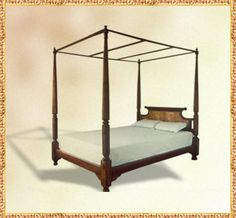 Beautiful reproduction of a British-Indian colonial style bed from The Raj Company. Sadly made out of Burmese teak, possibly the most politically incorrect bulding material in the world...