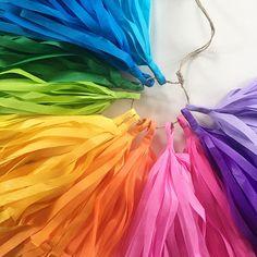 RAINBOW FUN tassel garland / tissue paper rainbow decorations