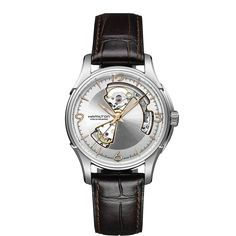 9bc1340f5921 Hamilton Jazzmaster Open Heart Auto Silver   Exhibition Dial Brown Leather  Strap Mens Watch BY Hamilton