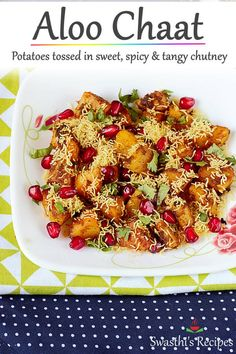 chaat aloo chaat is a delicious sweet spicy tasting snack made with stir fried potatoes. via chaat is a delicious sweet spicy tasting snack made with stir fried potatoes. Tasty Vegetarian Recipes, Veggie Recipes, Indian Food Recipes, Cooking Recipes, Veggie Food, Cooking Tips, Rice Recipes, Vegan Vegetarian, Indian Appetizers