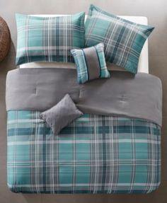 Intelligent Design Harold Reversible 4-Pc. Twin/Twin Xl Comforter Set - Blue Blue Comforter Sets, Linen Bedding, Bed Linen, Bedding Sets Online, Intelligent Design, Tartan Pattern, Comforters, Duvet Covers, Bed Pillows