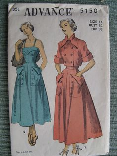 Advance Dig those crazy pockets! Vintage Sewing Patterns, Fabric Patterns, Clothing Patterns, 1950s Fashion, Vintage Fashion, 1940s Dresses, Jacket Dress, Fashion Accessories, Style Inspiration