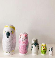Australian Bird Babooshka Dolls - Marmalade Lion Australian Nursery, Australian Birds, Bird Crafts, Animal Decor, Animal Nursery, Hand Illustration, Nursery Inspiration, Nursery Themes, Bird Art