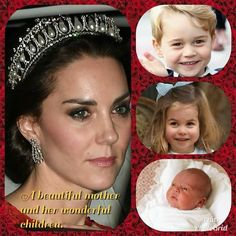 Duchess Kate Middleton with her 3 children Prince George, Princess Charlotte & Prince Louis