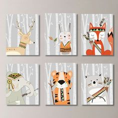 Tribal Woodland Nursery Art: This six-print set features six images of tribal animals: tiger, bear, bunny, deer, fox and elephant, on a light