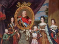 Apotheosis of John III Sobieski surrounded by his family (Joannes III / Rex Poloniae / Invictissimus) by workshop of Henri Gascar, ca. 1693 (PD-art/old), Residenz München, from a dowry of Teresa Kunegunda Sobieska Family Portraits, Baroque, Workshop, Wings, Female Clothing, European History, Queens, Painting, Inspiration