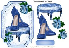 Pretty Blue Shoes on a stool with roses on Craftsuprint - Add To Basket!
