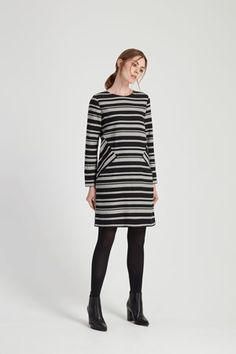 Rita Stripe Dress in Black