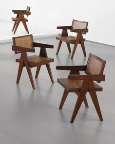"""PHILLIPS : NY050213, PIERRE JEANNERET, Set of four """"Office"""" armchairs, model no. PJ-SI-28-A, designed for the Architects Office, Secrétariat..."""