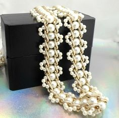 HONG KONG Ladies belt faux pearls threaded thru goldtone chain 31 - 37 inch #Unbranded #chain