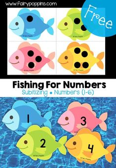 Finshing for Numbers! A free subtilizing fishing game great for teaching numbers to preschool kids during an Ocean theme! Finshing for Numbers Subitizing Activities, Fish Activities, Early Learning Activities, Math Games, Toddler Activities, Numeracy, Number Games For Kindergarten, Kindergarten Math Centers, Counting Activities