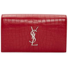Saint Laurent Red Croc-Embossed Monogram Kate Clutch (€1.165) ❤ liked on Polyvore featuring bags, handbags, clutches, croc embossed handbags, croc embossed leather handbags, monogrammed purses, crocodile handbags and croc purse