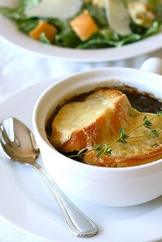 French Onion Soup. This recipe is a keeper! Warm soup topped with baguette slices and gruyere cheese.