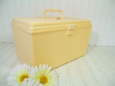 Retro Soft Yellow Oversized Wilhold Wilson Sewing Box - Vintage Rectangular Plastic 2 Piece Carry All - Crafters Tote & Artisans Tool Chest by DivineOrders