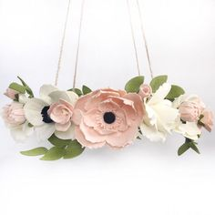 SHOP SMALL I try to make my florals as life-like as I can. A great example is the veining Ive added to my anemones (see the white flower with dark Blush Flowers, Peony Flower, Pink Peonies, Felt Flowers, White Flowers, Girl Nursery Themes, Boho Nursery, Nursery Decor, Nursery Crib