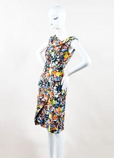 "Multicolor Floral Jardim Print ""Mariko"" Cowl Neck Dress"