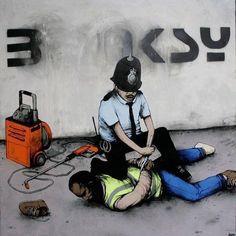Ok not Banksy but it's cool street art. 3d Street Art, Street Art Banksy, Best Street Art, Street Artists, Banksy Graffiti, Bansky, Graffiti Artists, Graffiti Lettering, Pop Art