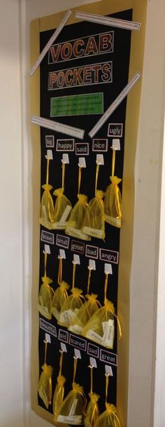 This is my take on vocab pockets. I put a variety of high level adjectives for common words such as happy or sad into jewellery bags and hung them onto hooks to encourage children to use them to expand their vocabulary. Jeweller bags were £2 from eBay, bargain!!!    Ideas, activities and revision resources for teaching GCSE English    For more ideas please visit my website: www.gcse-english.com   